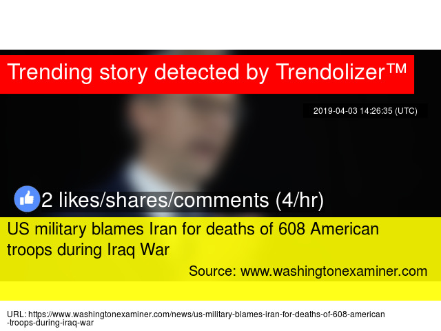 US military blames Iran for deaths of 608 American troops