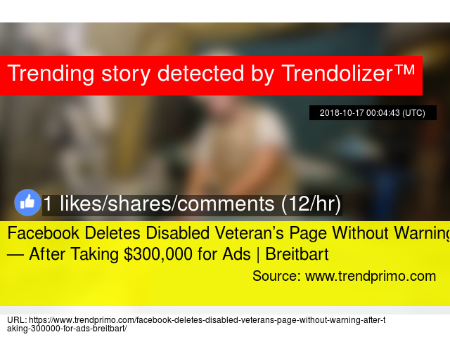 Facebook Deletes Disabled Veteran'